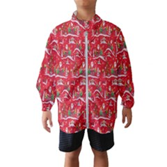 Red Background Christmas Wind Breaker (kids)