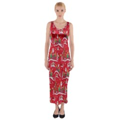 Red Background Christmas Fitted Maxi Dress