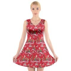 Red Background Christmas V Neck Sleeveless Skater Dress