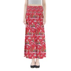 Red Background Christmas Full Length Maxi Skirt