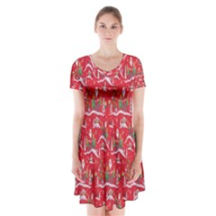 Red Background Christmas Short Sleeve V Neck Flare Dress