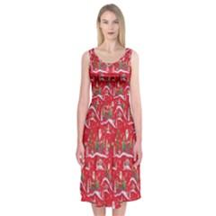 Red Background Christmas Midi Sleeveless Dress