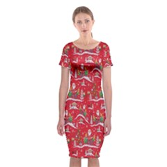 Red Background Christmas Classic Short Sleeve Midi Dress
