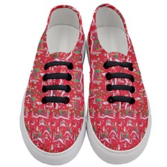 Red Background Christmas Women s Classic Low Top Sneakers