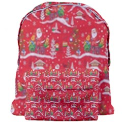 Red Background Christmas Giant Full Print Backpack