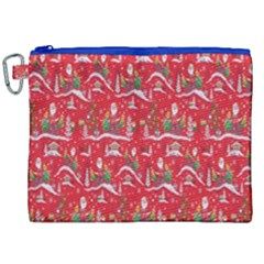 Red Background Christmas Canvas Cosmetic Bag (xxl) by Nexatart
