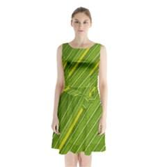 Leaf Plant Nature Pattern Sleeveless Waist Tie Chiffon Dress
