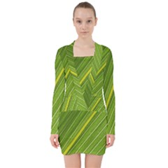 Leaf Plant Nature Pattern V Neck Bodycon Long Sleeve Dress