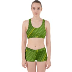 Leaf Plant Nature Pattern Work It Out Sports Bra Set