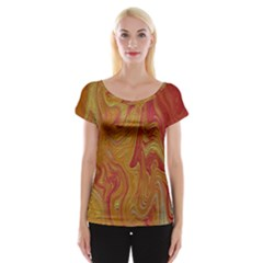 Texture Pattern Abstract Art Cap Sleeve Tops
