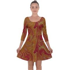 Texture Pattern Abstract Art Quarter Sleeve Skater Dress