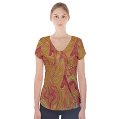 Texture Pattern Abstract Art Short Sleeve Front Detail Top
