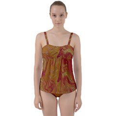 Texture Pattern Abstract Art Twist Front Tankini Set