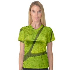 Green Leaf Plant Nature Structure V Neck Sport Mesh Tee