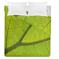 Green Leaf Plant Nature Structure Duvet Cover Double Side (queen Size)
