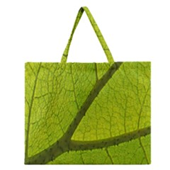 Green Leaf Plant Nature Structure Zipper Large Tote Bag