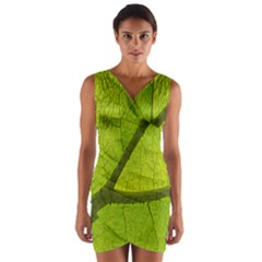 Green Leaf Plant Nature Structure Wrap Front Bodycon Dress