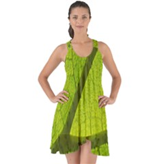 Green Leaf Plant Nature Structure Show Some Back Chiffon Dress