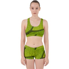 Green Leaf Plant Nature Structure Work It Out Sports Bra Set