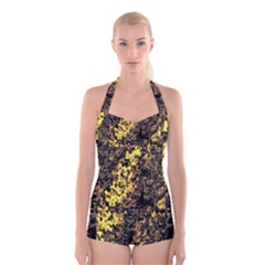 The Background Wallpaper Gold Boyleg Halter Swimsuit