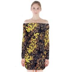 The Background Wallpaper Gold Long Sleeve Off Shoulder Dress