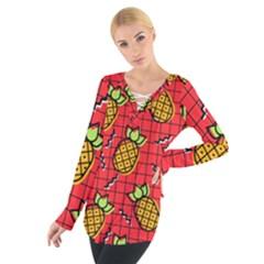 Fruit Pineapple Red Yellow Green Tie Up Tee