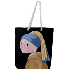 Girl With A Pearl Earring Full Print Rope Handle Tote (large) by Valentinaart