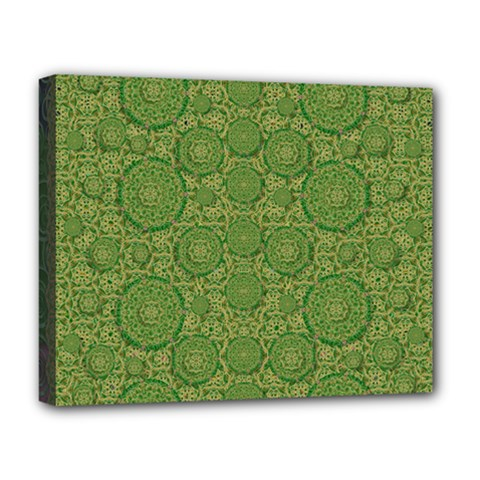 Stars In The Wooden Forest Night In Green Deluxe Canvas 20  X 16   by pepitasart