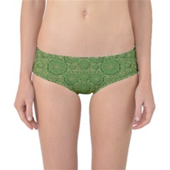 Stars In The Wooden Forest Night In Green Classic Bikini Bottoms by pepitasart