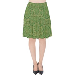 Stars In The Wooden Forest Night In Green Velvet High Waist Skirt by pepitasart