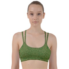 Stars In The Wooden Forest Night In Green Line Them Up Sports Bra by pepitasart