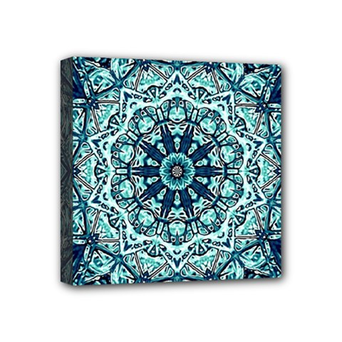 Green Blue Black Mandala  Psychedelic Pattern Mini Canvas 4  X 4