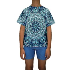 Green Blue Black Mandala  Psychedelic Pattern Kids  Short Sleeve Swimwear