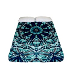 Green Blue Black Mandala  Psychedelic Pattern Fitted Sheet (full/ Double Size) by Costasonlineshop