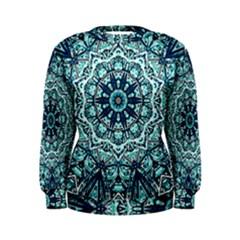 Green Blue Black Mandala  Psychedelic Pattern Women s Sweatshirt