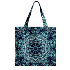 Green Blue Black Mandala  Psychedelic Pattern Zipper Grocery Tote Bag by Costasonlineshop