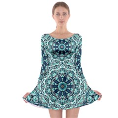 Green Blue Black Mandala  Psychedelic Pattern Long Sleeve Skater Dress