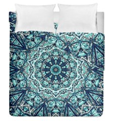 Green Blue Black Mandala  Psychedelic Pattern Duvet Cover Double Side (queen Size) by Costasonlineshop