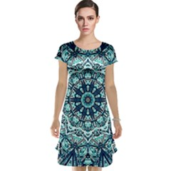 Green Blue Black Mandala  Psychedelic Pattern Cap Sleeve Nightdress
