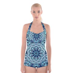 Green Blue Black Mandala  Psychedelic Pattern Boyleg Halter Swimsuit