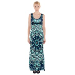 Green Blue Black Mandala  Psychedelic Pattern Maxi Thigh Split Dress