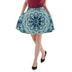 Green Blue Black Mandala  Psychedelic Pattern A Line Pocket Skirt