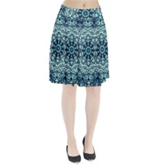 Green Blue Black Mandala  Psychedelic Pattern Pleated Skirt