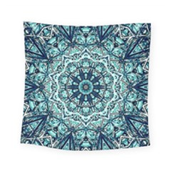 Green Blue Black Mandala  Psychedelic Pattern Square Tapestry (small) by Costasonlineshop