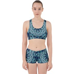 Green Blue Black Mandala  Psychedelic Pattern Work It Out Sports Bra Set