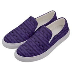 Color Of The Year 2018   Ultraviolet   Art Deco Black Edition Men s Canvas Slip Ons by tarastyle