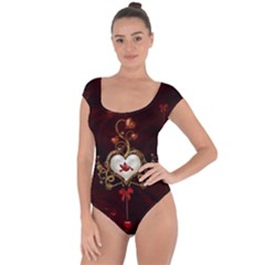 Wonderful Hearts With Dove Short Sleeve Leotard