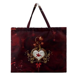 Wonderful Hearts With Dove Zipper Large Tote Bag by FantasyWorld7