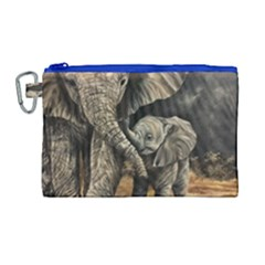 Elephant Mother And Baby Canvas Cosmetic Bag (large) by ArtByThree