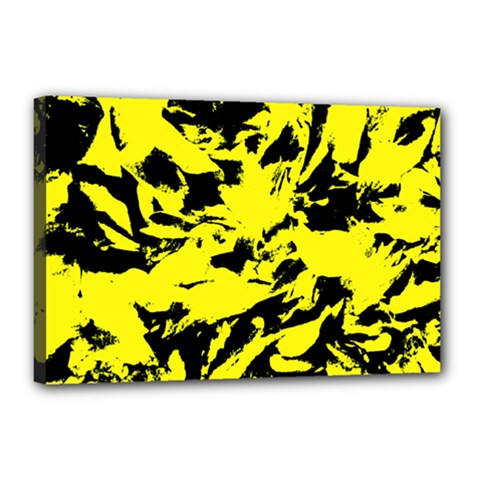 Yellow Black Abstract Military Camouflage Canvas 18  X 12  by Costasonlineshop